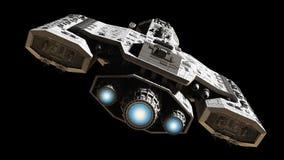 Космический корабль с голубым заревом двигателя
