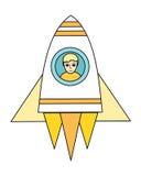 Космический корабль с мальчиком в иллюминаторе Стоковое фото RF