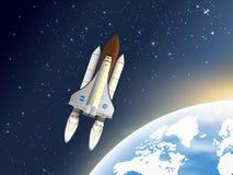 Космический летательный аппарат многоразового использования взлета Космический корабль иллюстрация вектора