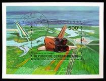 Космический летательный аппарат многоразового использования, посадка, завоевание serie космоса, около 1981 стоковая фотография rf