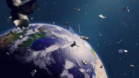 Космический мусор в земной орбите, опасное старье двигая по орбите вокруг голубой планеты иллюстрация вектора