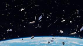 Космический мусор в земной орбите, опасное старье двигая по орбите вокруг голубой планеты иллюстрация штока