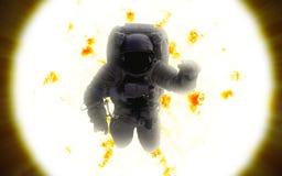 космическое пространство астронавта солнце стоковое изображение