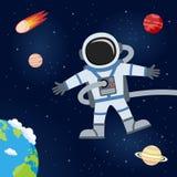 Космическое пространство с астронавтом & планетами иллюстрация вектора