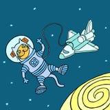 Космонавт кота также вектор иллюстрации притяжки corel Стоковое Фото
