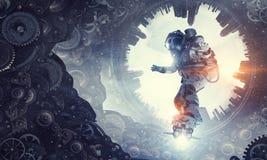 Космонавт на доске летания Мультимедиа Стоковое Изображение RF