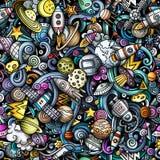 Космоса doodles шаржа картина милого безшовная