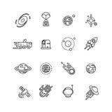 Космос, астрономия и астрология размечают линию значки вектора иллюстрация вектора