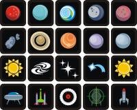 космос иконы установленный Стоковое Фото