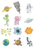космос иконы шаржа Стоковая Фотография RF