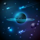 Космос и планета иллюстрация вектора