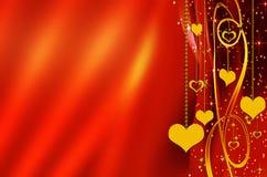 космос красного цвета сердец экземпляра предпосылки золотистый Стоковое Изображение