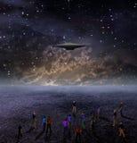 космос людей gather корабля вниз иллюстрация вектора
