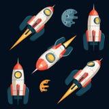 Космос Ракета в стиле мультфильма 3d - установите от нескольких углов бесплатная иллюстрация