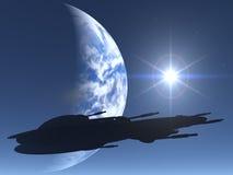 космос силуэта корабля Стоковая Фотография