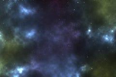 Космос с голубым межзвёздным облаком Стоковое Фото