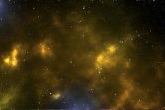 Космос с оранжевым межзвёздным облаком иллюстрация вектора