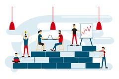 Космос Coworking при творческие люди сидя на таблице Увеличьте продажи и навыки Команда думая и коллективно обсуждать Illu вектор иллюстрация штока
