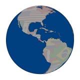 Коста-Рика на политическом глобусе Стоковая Фотография RF