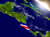 Коста-Рика с флагом в восходящем солнце Стоковые Изображения