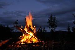Костер, лагерный костер, огонь Стоковые Изображения RF