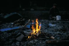Костер горит Стоковая Фотография