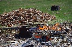 Костер и листья Стоковые Изображения