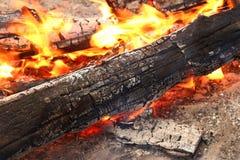 Костер с пламенем в месте для лагеря Стоковое фото RF