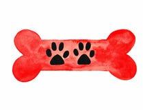 Косточка собаки с лапкой печатает акварель Стоковое Фото