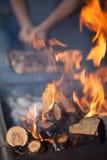 костры свет пожара серый вносит древесину в журнал woodpile Жарящ и варящ огонь Woodfire с пламенами стоковое изображение rf