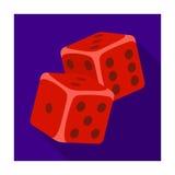 Кость для игр в казино Камни, который нужно бросить на таблицу для удачи Значок Kasino одиночный в плоском символе вектора стиля Стоковое Изображение