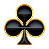 Костюмы карточки клубов при золотой изолированный обрамлять Стоковая Фотография