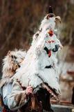 Костюм болгарской масленицы праздника животный для того чтобы вспугн стоковые фотографии rf