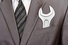 костюм гаечного ключа бизнесмена карманный Стоковые Фото
