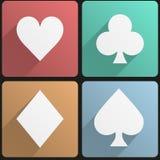 Костюм играя карточек плоского значка установленный Стоковое Фото