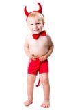 костюм малыша дьявола красный уговаривая Стоковые Фотографии RF