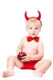костюм малыша дьявола красный уговаривая Стоковое Изображение RF