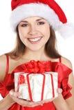 костюм настоящего момента девушки рождества брюнет Стоковые Фото