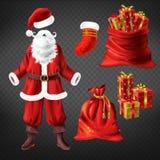 Костюм Санта и атрибуты рождества набор вектора бесплатная иллюстрация
