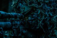 Костюм ghillie снайпера нося Стоковое Фото