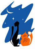2 кота в ноче Стоковые Фотографии RF