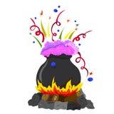 Котел на огне вполне волшебных ярких зелиь иллюстрация вектора