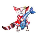 Котенок держит рыб в руке иллюстрация вектора
