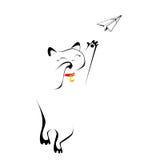 Котенок играя с бумажным самолетом Стоковое Изображение
