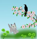 Котенок и черная птица иллюстрация штока