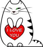 Котенок иллюстрации вектора белый смешной держит красное сердце с ` ` литерности я тебя люблю в честь дня ` s валентинки Стоковое Изображение RF