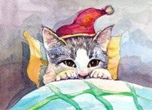Котенок рождества Стоковая Фотография