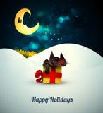 Котенок спать на подарочной коробке самостоятельно в unde снега иллюстрация вектора