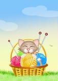 Котенок с шариком пряжи Стоковые Фотографии RF