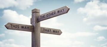 Который путь пойти дорожный знак Стоковое Изображение RF